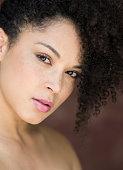 Portrait of a mixed race woman