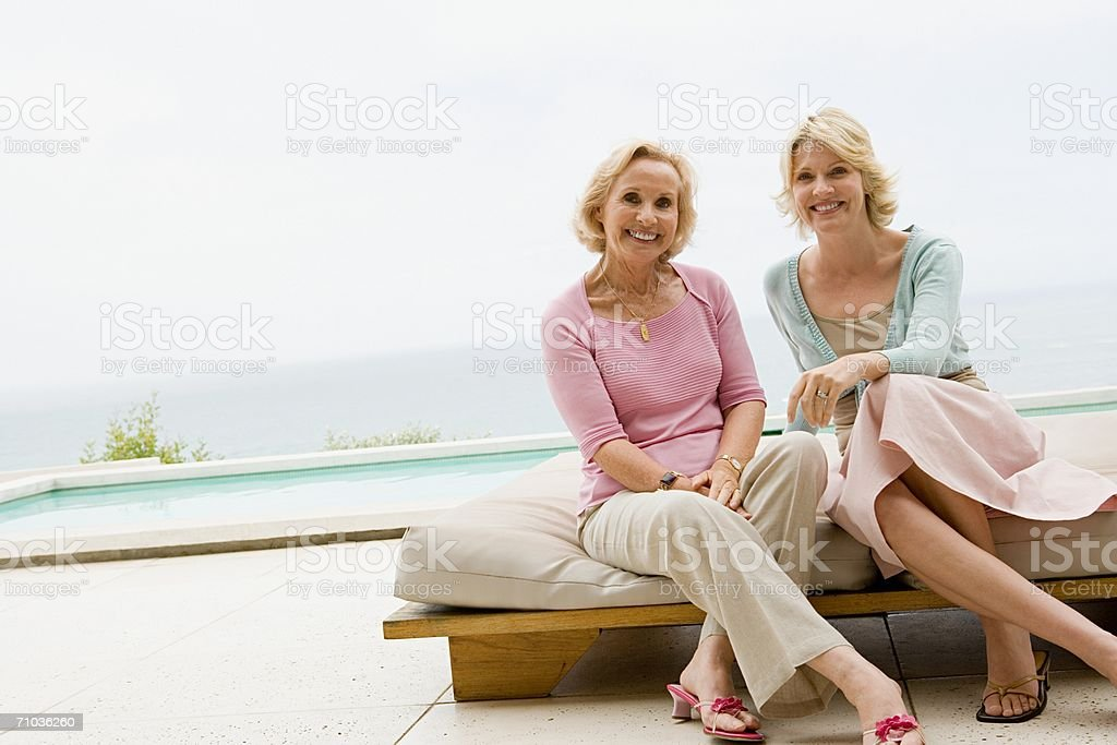 Portrait of a mother and her daughter stock photo