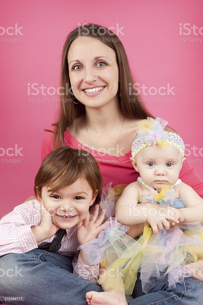 Portrait of a Mother With Her Children royalty-free stock photo