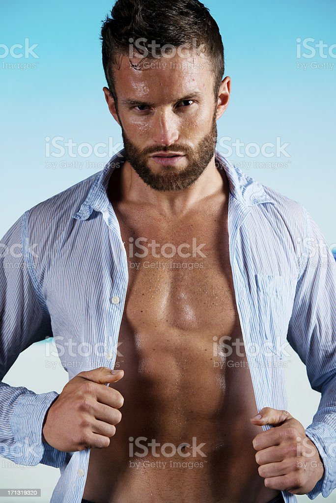 Portrait of a muscular man stock photo