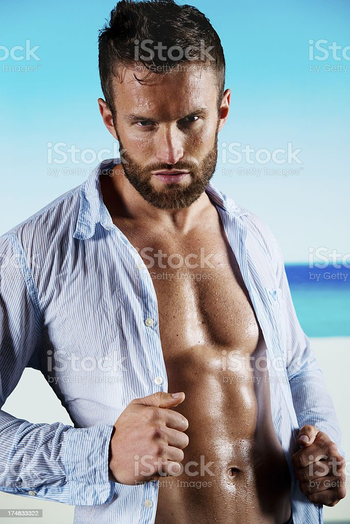Portrait of a muscular man royalty-free stock photo