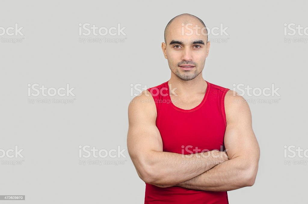 Portrait of a muscular man. stock photo