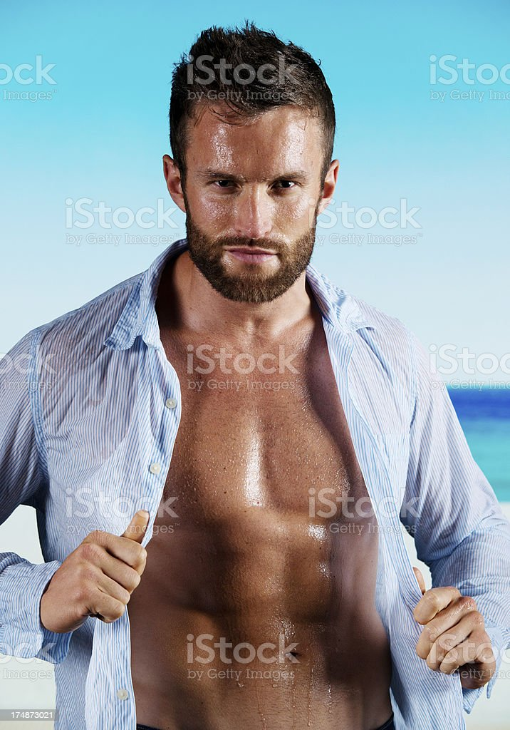 Portrait of a muscular man posing royalty-free stock photo