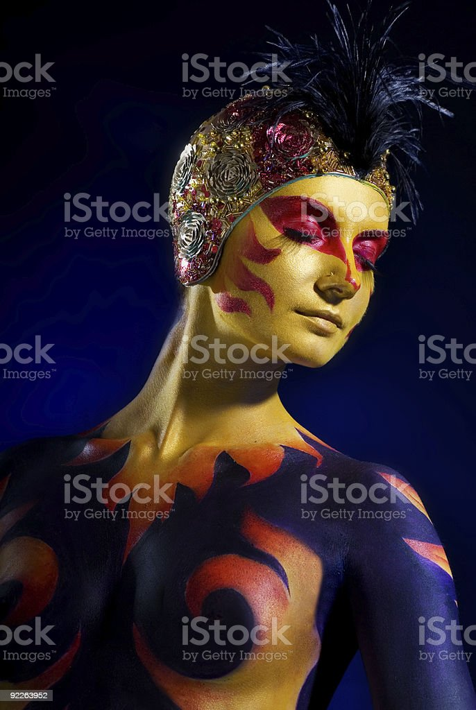 Portrait of a mysterious woman with artistic make-up royalty-free stock photo