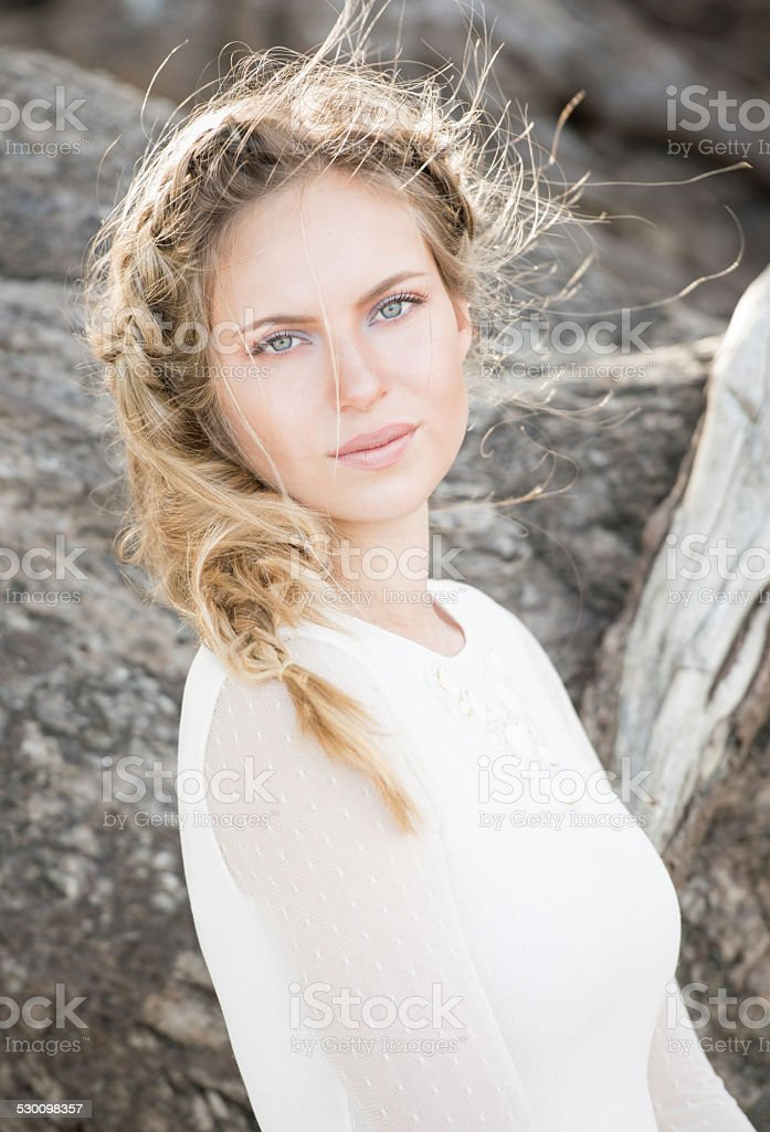 Portrait of a Natural Beautiful Woman stock photo