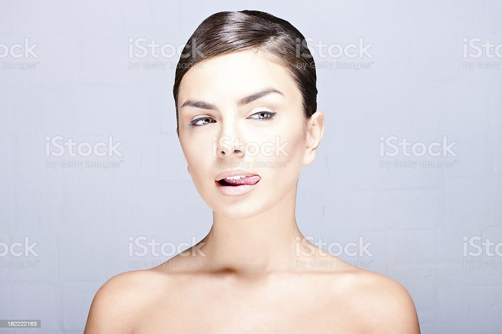 Portrait of a natural beauty: cunning face royalty-free stock photo