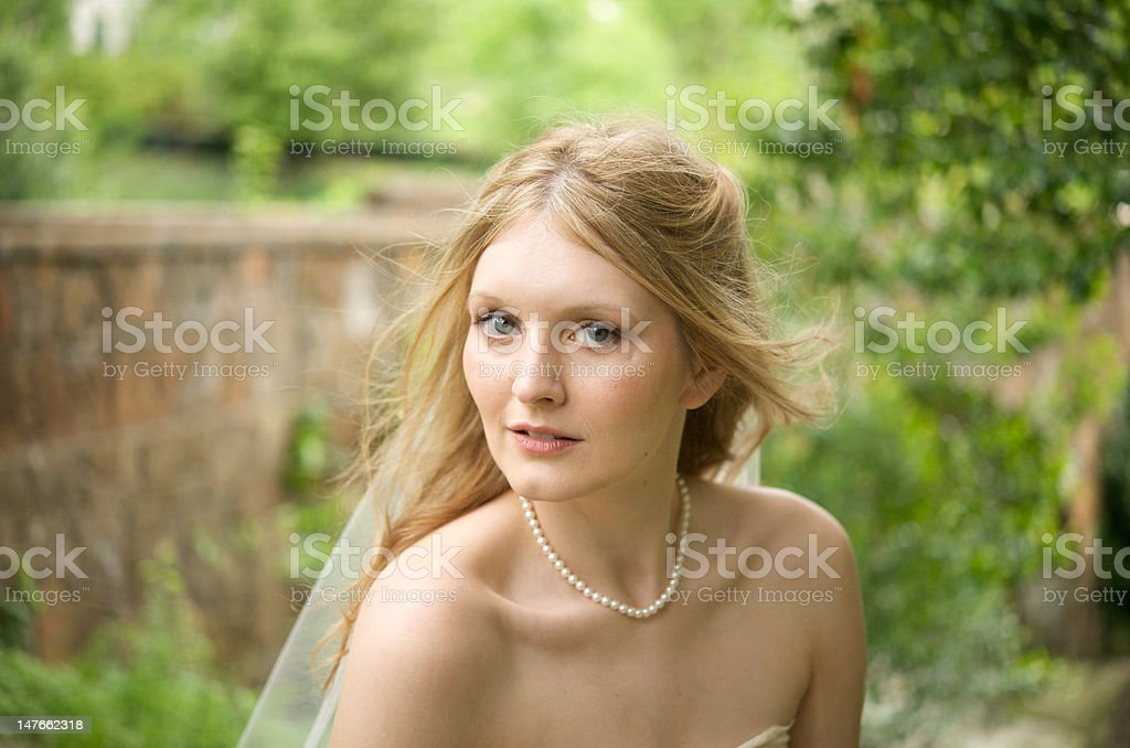 Portrait of a natural bride stock photo