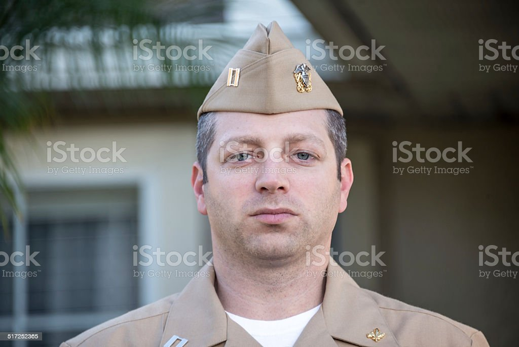 Portrait of a Naval Officer stock photo