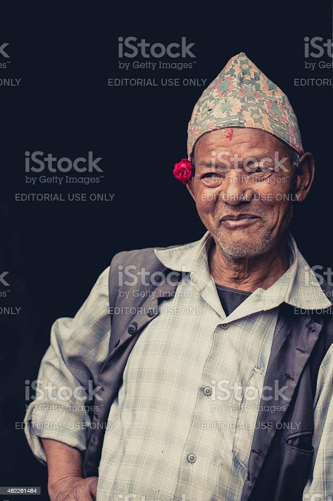 Portrait of a Nepalese senior, Kathmandu stock photo