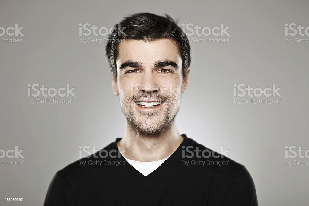 Portrait of a normal boy smiling isolated stock photo