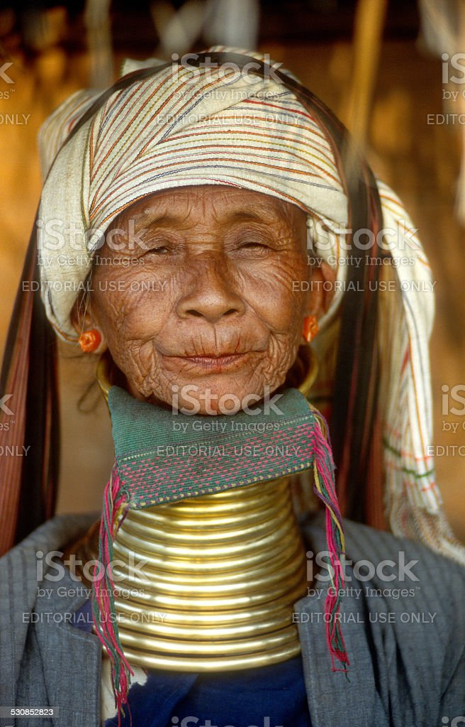 Portrait of a Padaung woman living in Myanmar stock photo