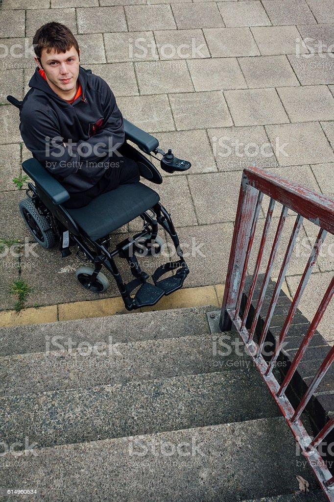 Portrait of a paraplegic stock photo