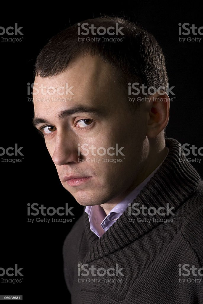 Portrait of a pensive handsome man royalty-free stock photo