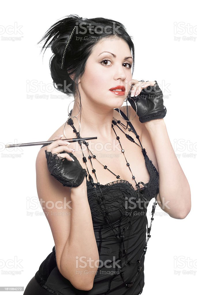 Portrait of a playful young brunette royalty-free stock photo