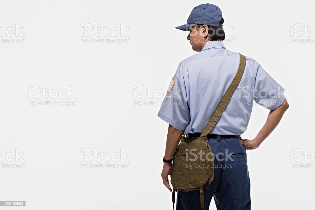Portrait of a postman stock photo