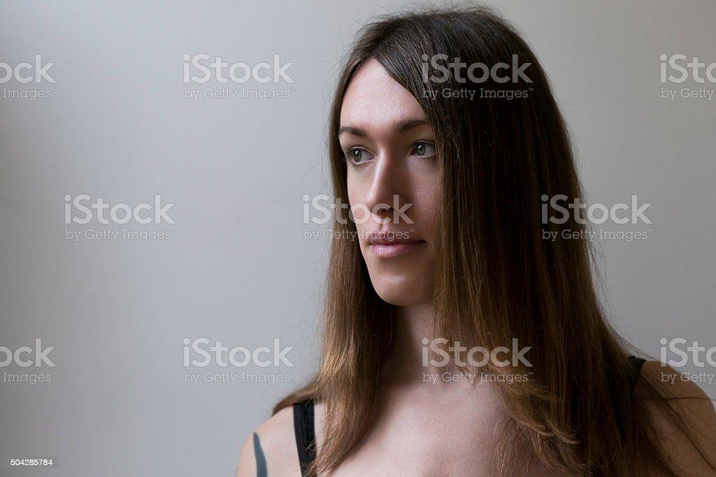 Portrait of a Pre-Op Transgender Woman stock photo