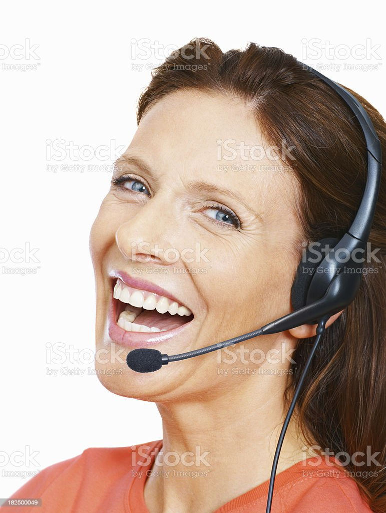 Portrait of a pretty call center employee on white royalty-free stock photo