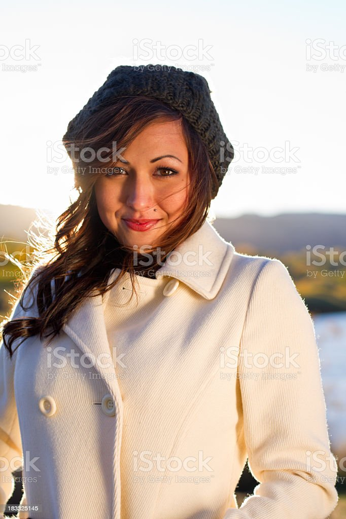 Portrait of a Pretty Girl in the Fall stock photo
