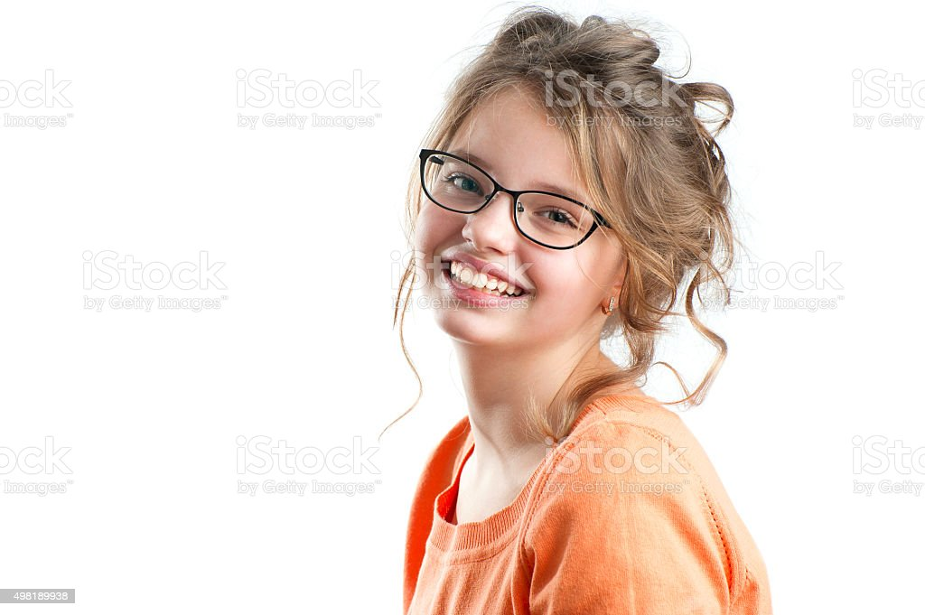 Portrait of a pretty girl on a white background. stock photo