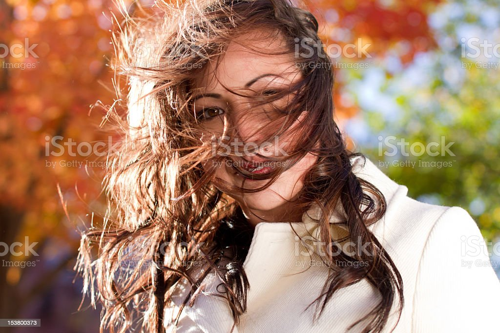 Portrait of a Pretty Girl, Tousled Hair stock photo