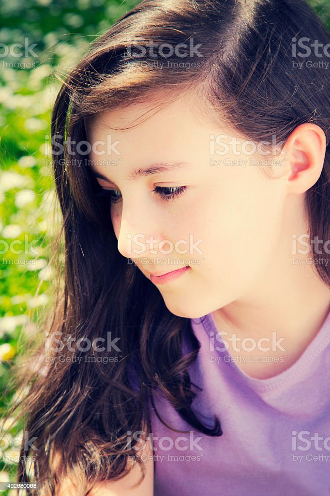 Portrait of a pretty teenage girl smiling royalty-free stock photo