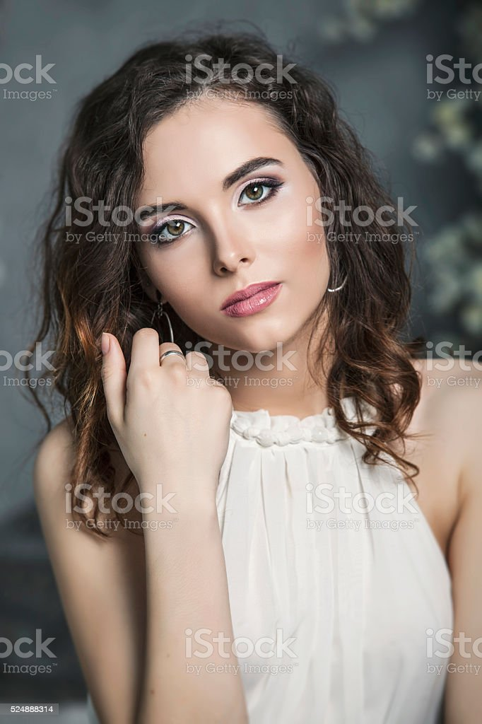 Portrait of a pretty woman bride with beautiful makeup stock photo