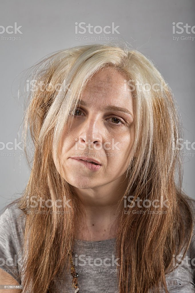 Portrait of a real adult woman looking at camera stock photo