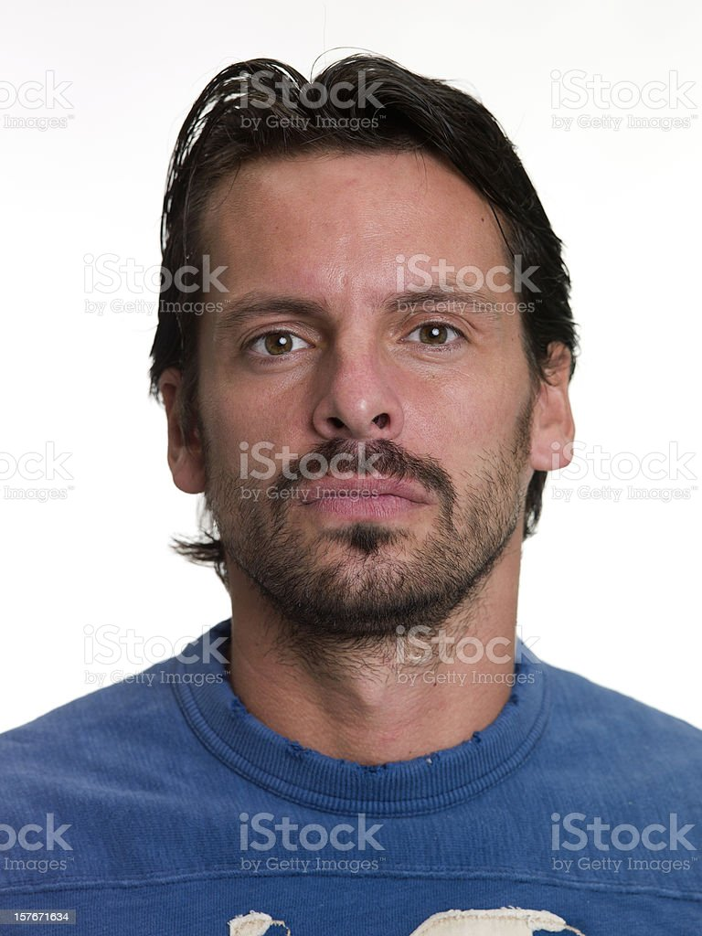 Portrait of a real man on white background. royalty-free stock photo
