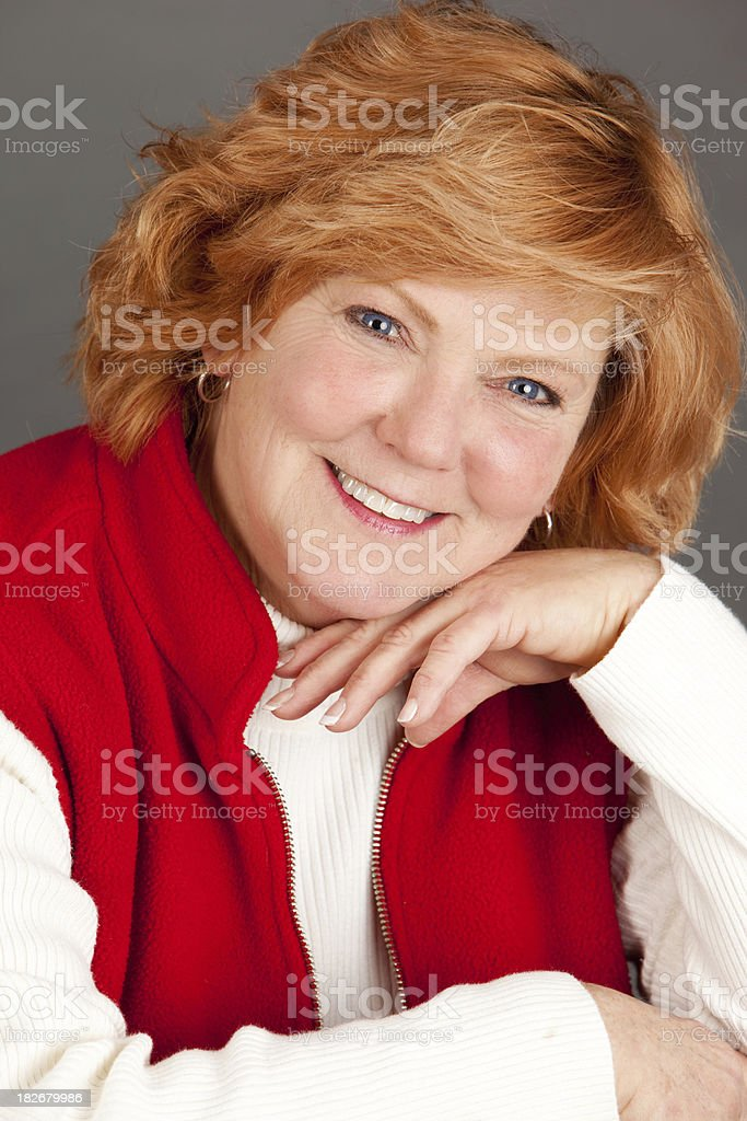 Portrait of a Red Headed Mature Woman stock photo