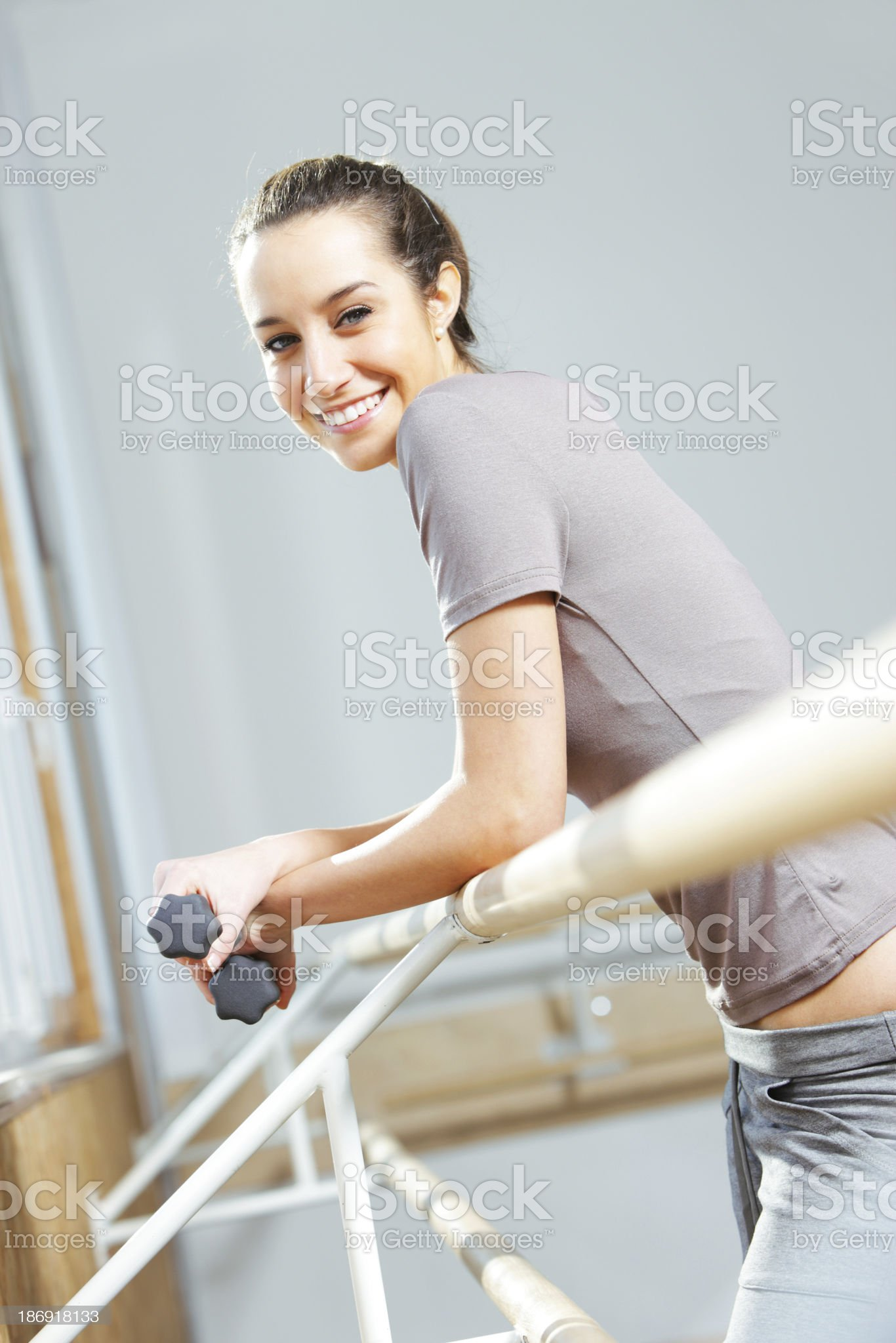 Portrait of a relaxed attractive young woman after exercise royalty-free stock photo