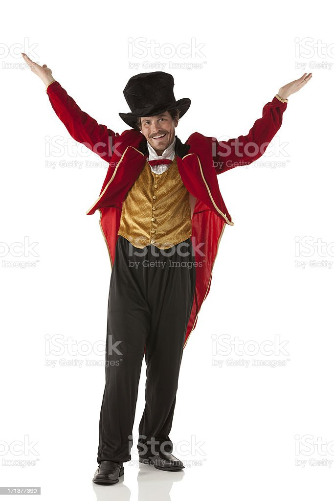 Portrait of a ringmaster gesturing stock photo