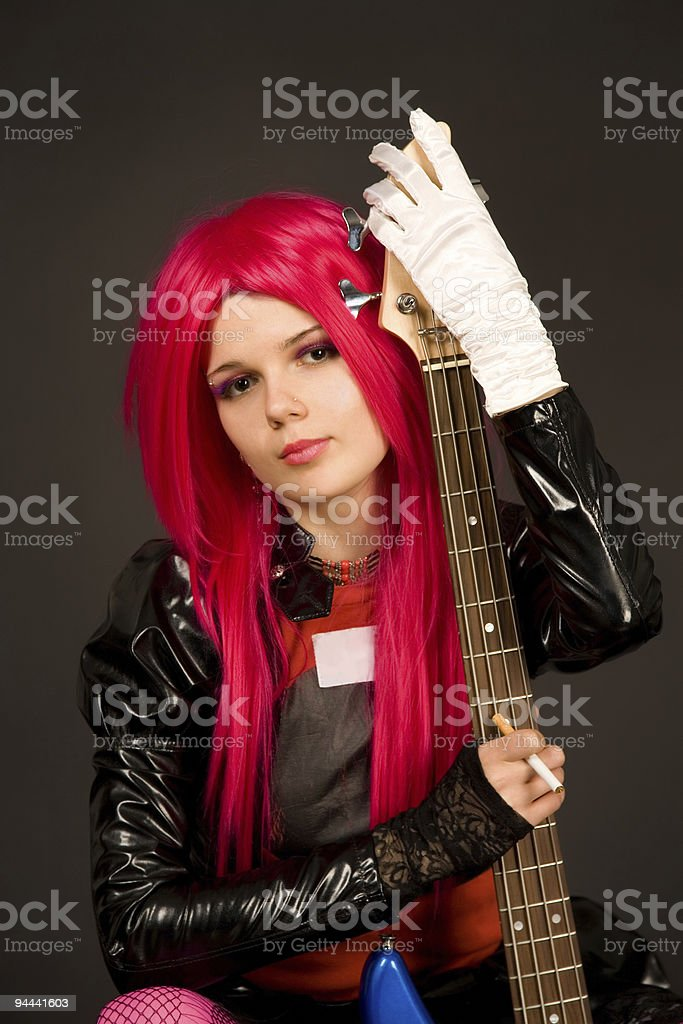 Portrait of a romantic girl with guitar royalty-free stock photo