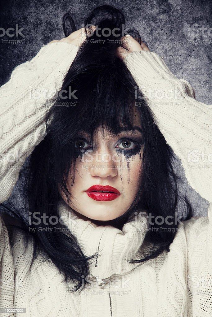 Portrait of a sad brunette. royalty-free stock photo