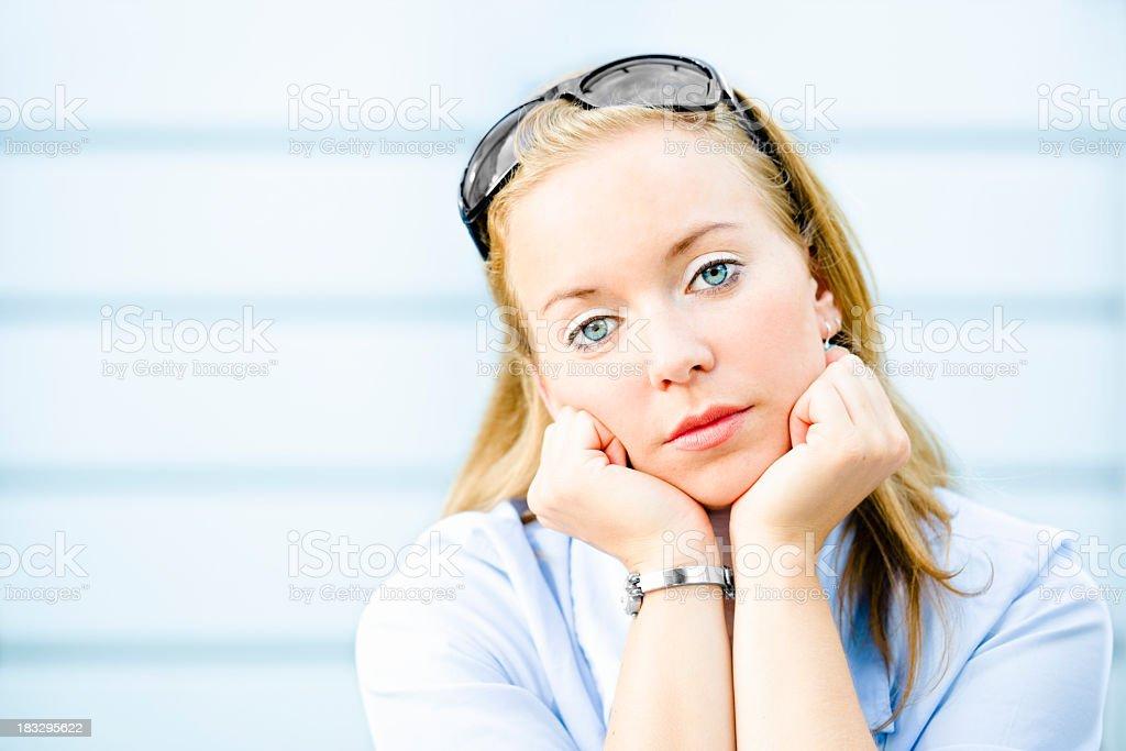 Portrait of a sad businesswoman stock photo