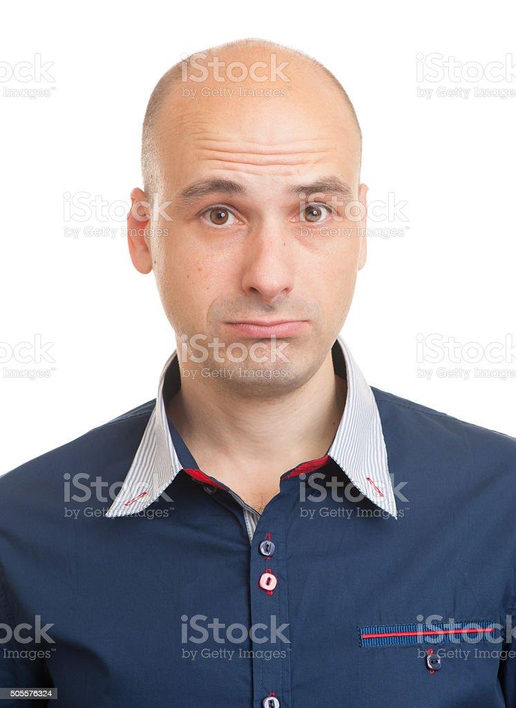 Portrait of a sad man stock photo