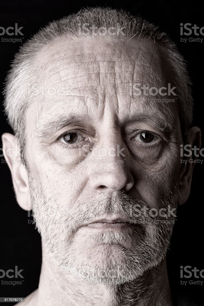 Portrait of a Sad Man stock photo