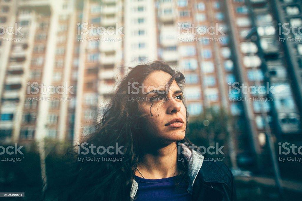 Portrait of a sad teenage girl stock photo