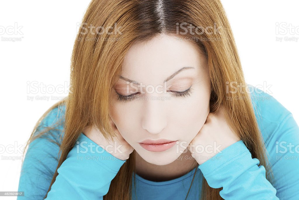Portrait  of a sad young woman. royalty-free stock photo