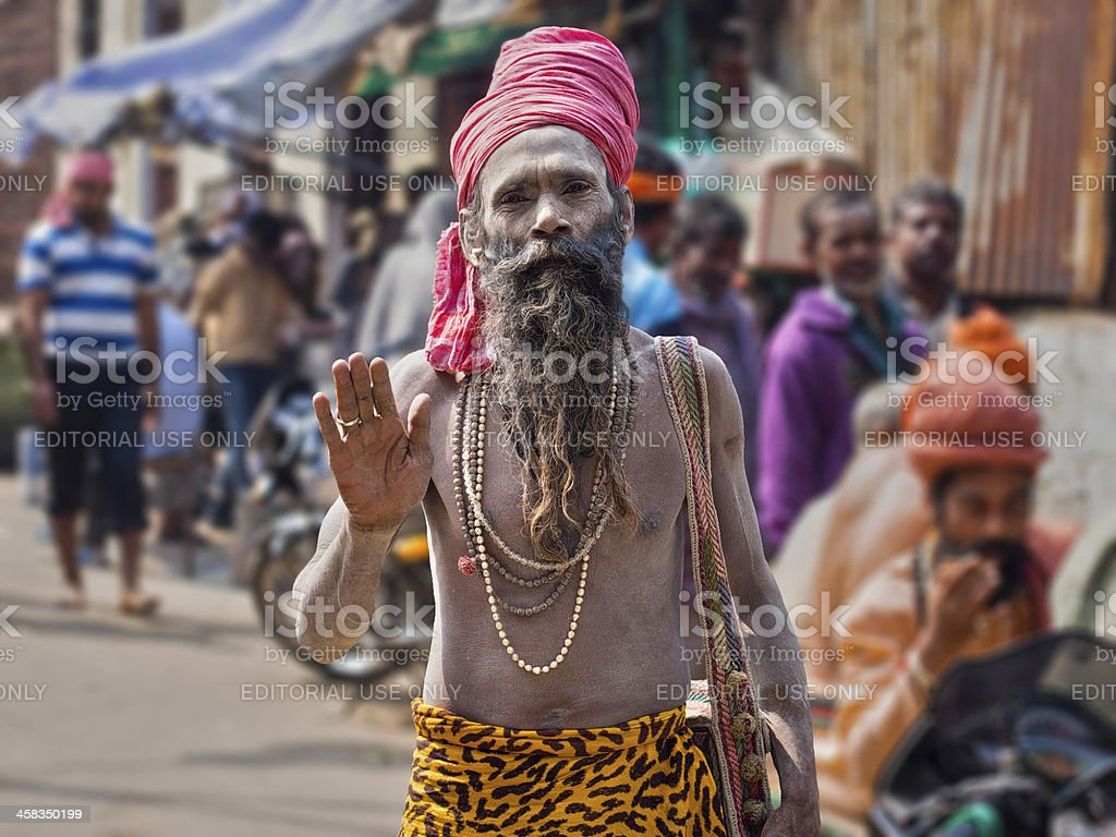 Portrait of a Sadhu - Indian Holy Man stock photo