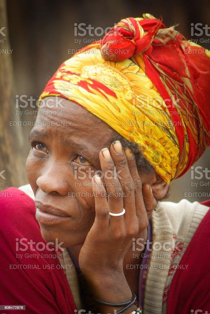 Portrait of a San woman stock photo