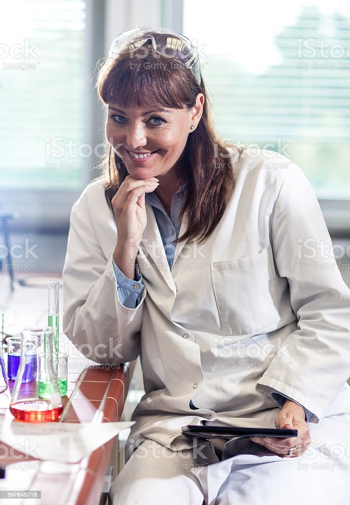 Portrait of a Scientist Holding a Tablet stock photo