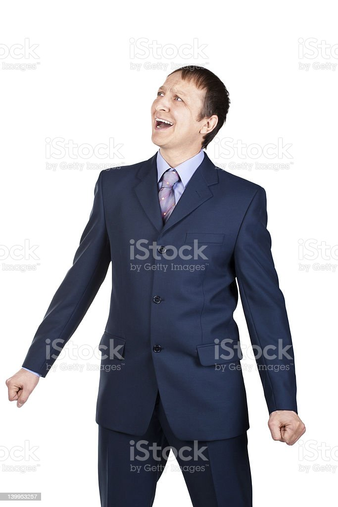 Portrait of a screaming businessman stock photo