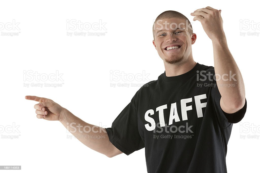 Portrait of a security guard gesturing stock photo