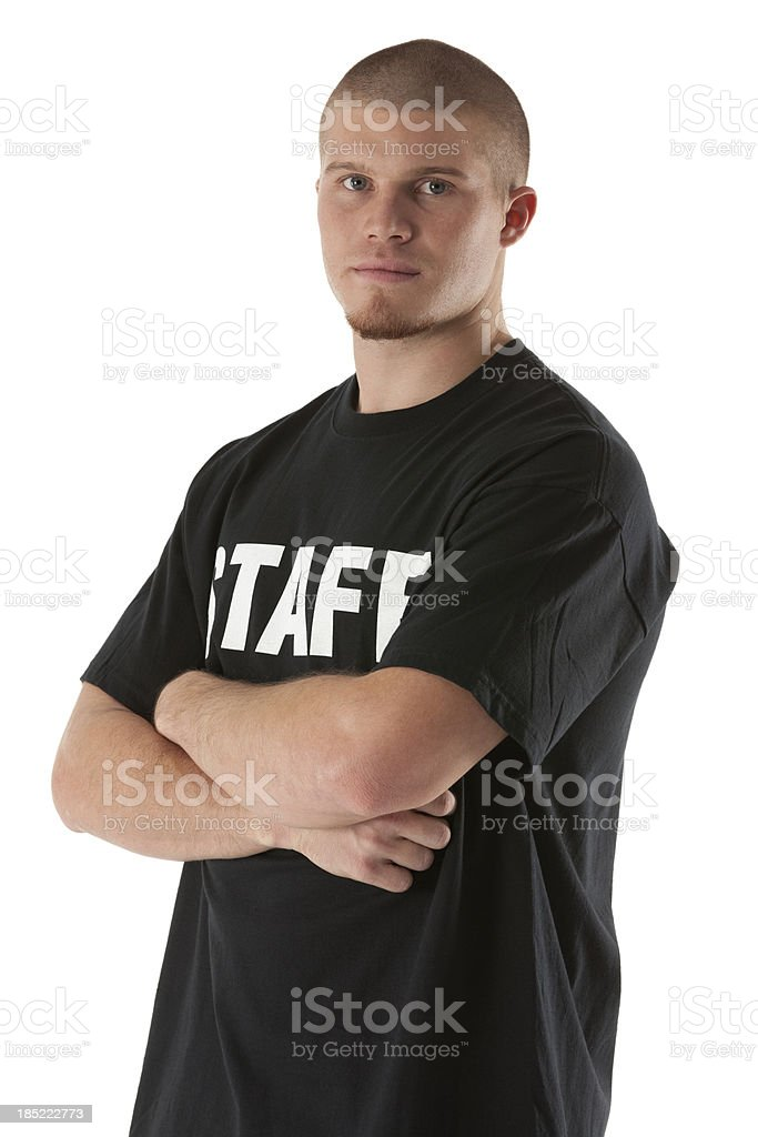 Portrait of a security guard with his arms crossed royalty-free stock photo
