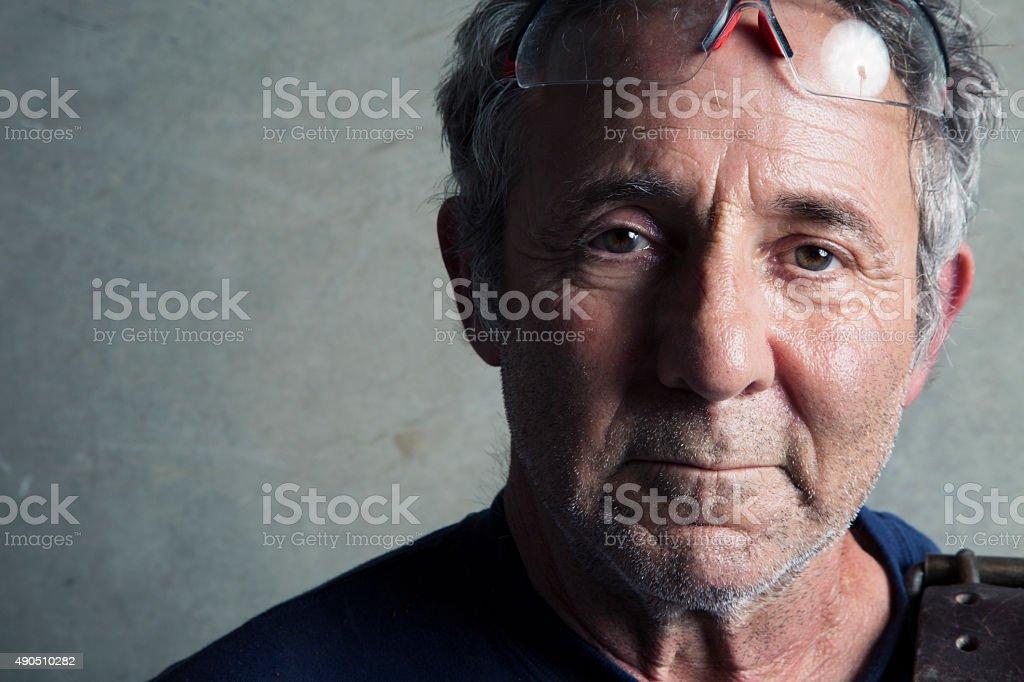 Portrait of a Senior Construction Worker stock photo