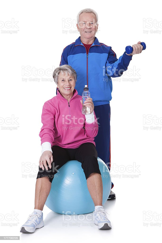 Portrait Of A Senior Couple Exercising royalty-free stock photo