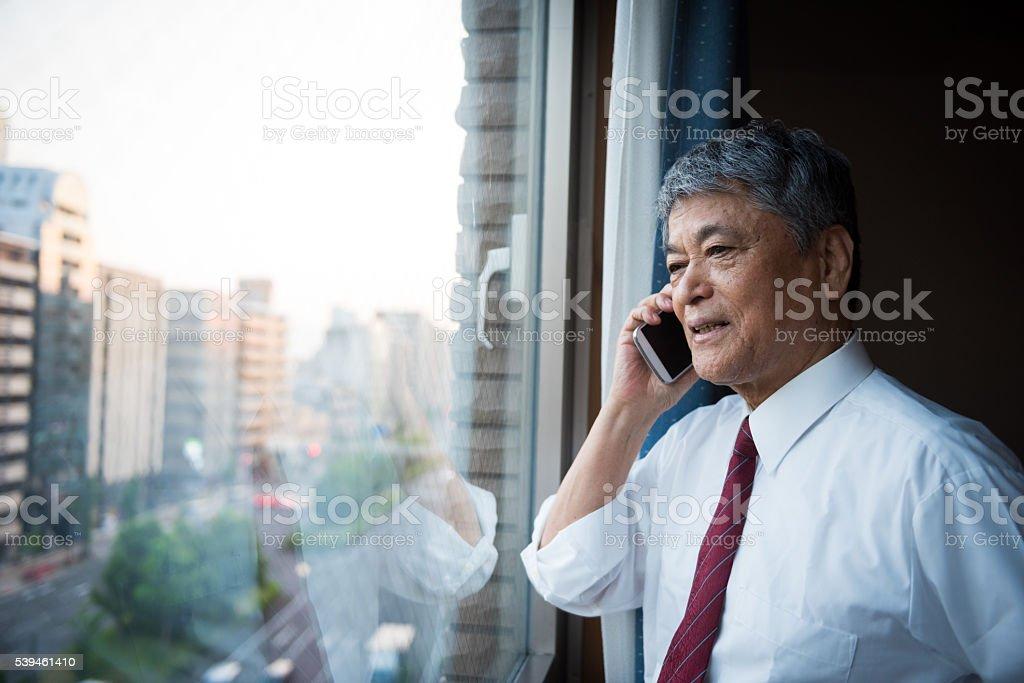 Portrait of a senior Japanese businessman stock photo