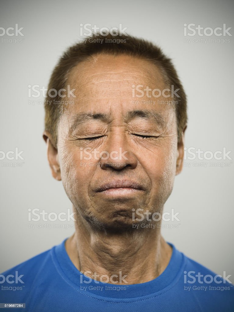 Portrait of a senior japanese man. stock photo