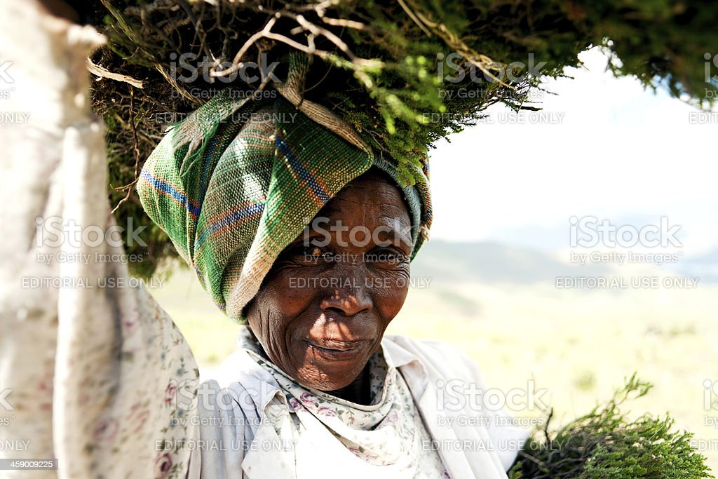 Portrait of a senior Lesotho woman along the road stock photo