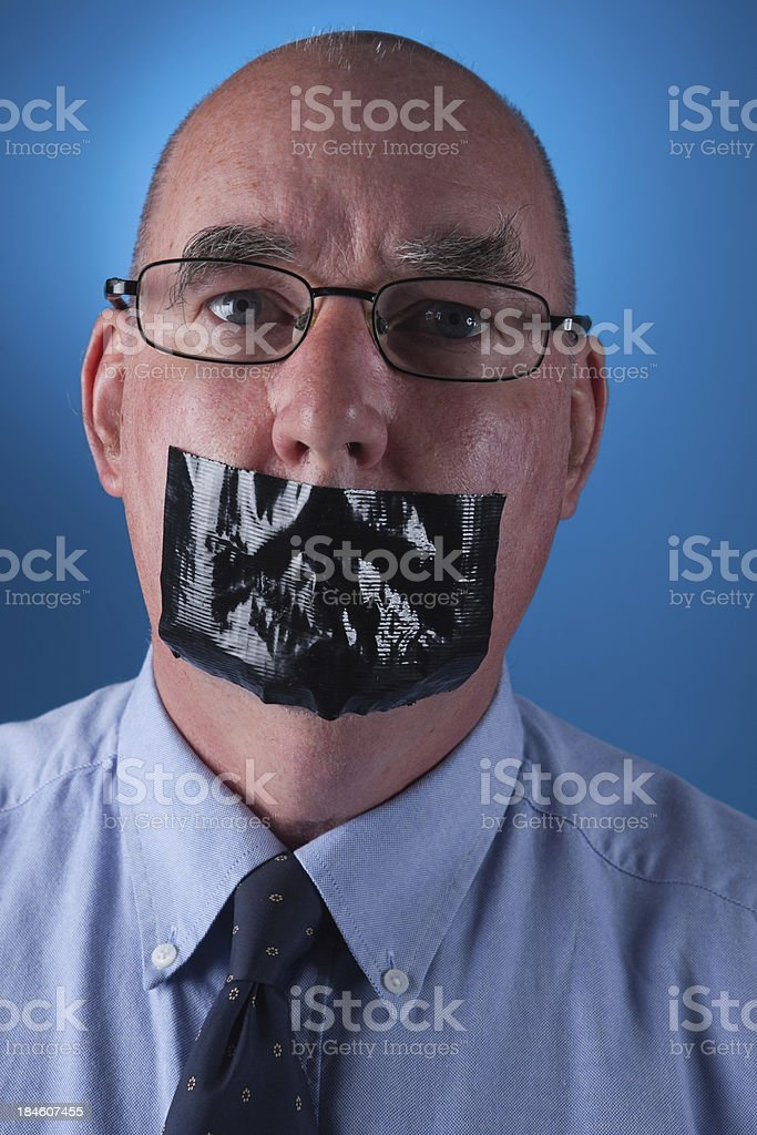 Portrait Of A Senior Man Gagged royalty-free stock photo